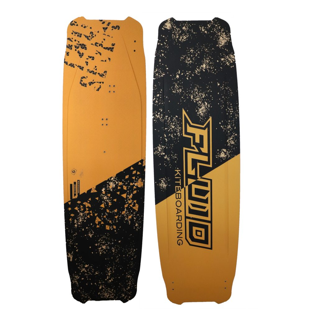 Fluid kiteboarding Twoseven Metallic gold and real gold full basalt fiber kiteboard twintip 2021 2022 2