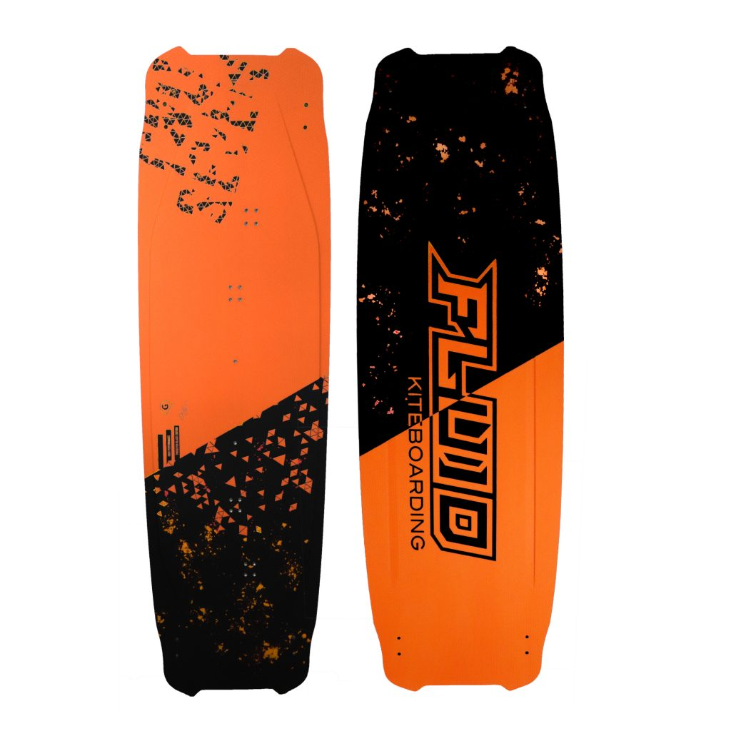Fluid kiteboarding Twoseven orange 2021 - 2022 and black full basalt fiber kiteboard twintip