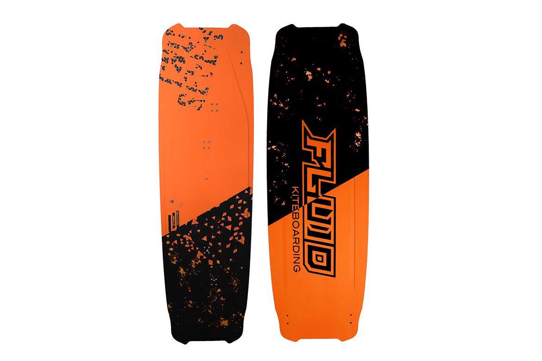 Fluid kiteboarding Twoseven orange 2021 - 2022 and black full basalt fiber kiteboard twintip