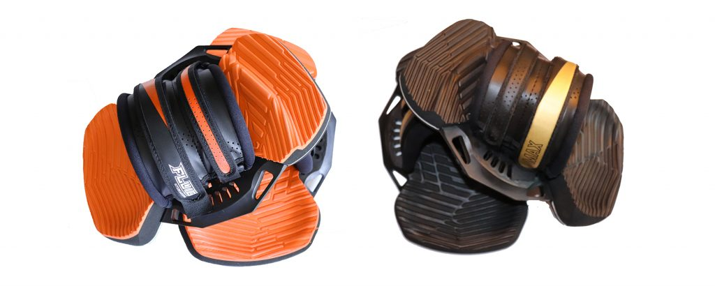 Fluid kiteboarding MAX bindings - fit any kiteboard - soft eva - shock absorbing - kiteboarding footpads